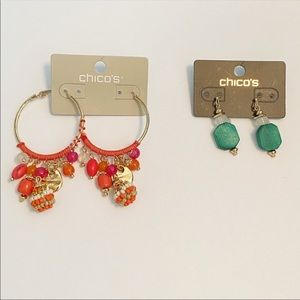 NWT Chico's Charm Hoops and Wooden Drop Earrings